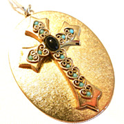 Vintage Whiting and Davis Cross Pendant Turquoise and Black Stones