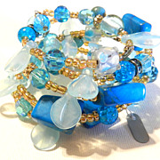 Vintage Wendy Gell Art Glass Beaded Beads Spiral Bracelet Blue