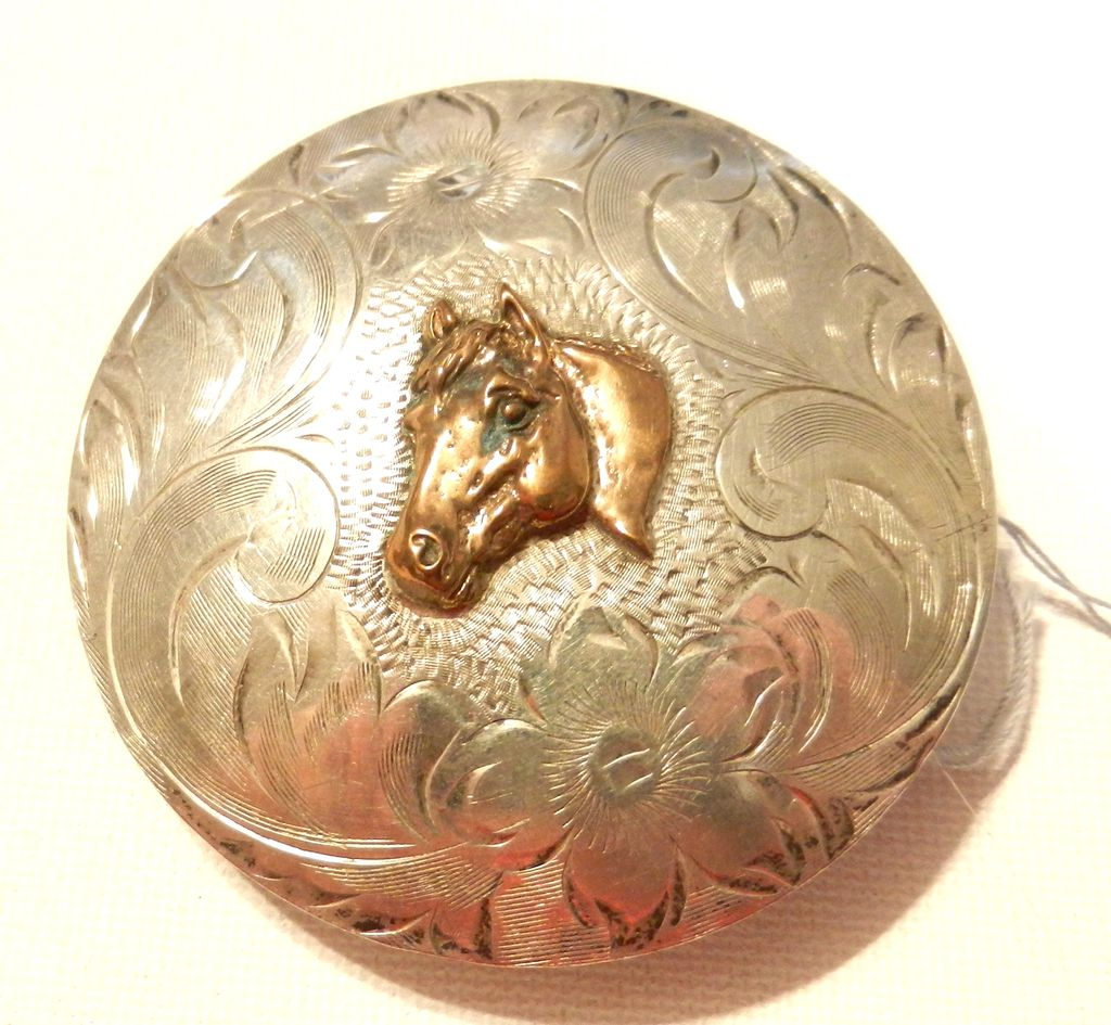 Vintage Sterling Silver Horse Buckle with Horse Western SIlversmiths Vista California