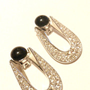 Art Deco Inc. Black and White Rhinestone Earrings Heirlooms of Tomorrow