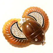 Vintage Art Deco Inc. Scarab Brooch Pin