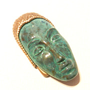 Art Deco Inc. Green Mask PIn Brooch Heirlooms of Tomorrow
