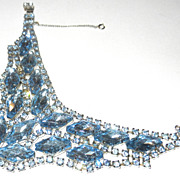 Vintage Blue Rhinestone Bib Drape Bracelet Blue