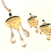 Art Deco Inc. Chinaman Necklace and Earrings Chinese Set Heirlooms of Tomorrow