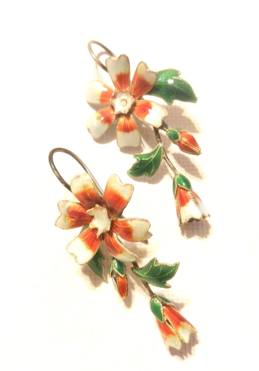 Vintage Chinese Export Silver Flowers Earrings Enamel French Wire