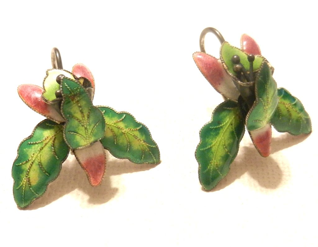 Vintage Chinese Export Orchid Earrings Enamel French Wire