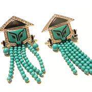 Vintage Art Deco Inc. Jewelry French Replica Georges Fouquet Chinese Mask Earrings