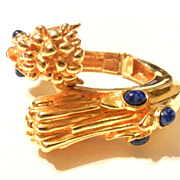 Vintage Early KJL Kenneth Jay Lane Jeweled Clamper Bracelet