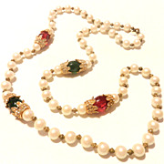 Vintage KJL Necklace Long Single Strand Faux Pearls Glass Beads