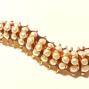Vintage Kenneth Lane KJL Caterpillar Brooch Pin Faux Pearls