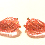 Vintage Kenneth Lane Pink Carved Lucite Earrings