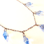 Vintage Art Deco Blue Faceted Glass Drops Necklace Paper Clip Chain