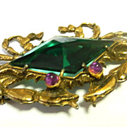 SALE PENDING Vintage Crab Pin Brooch with large Green Rhinestone Center