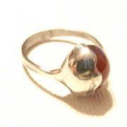 SOLD Vintage Mid Century 925 Silver Ring Carnelian Modernist