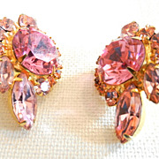 SOLD Vintage Juliana D&E Pink Rhinestone Earrings