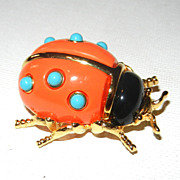 SALE PENDING Vintage KJL Kenneth Lane Lady Bug Pin Brooch