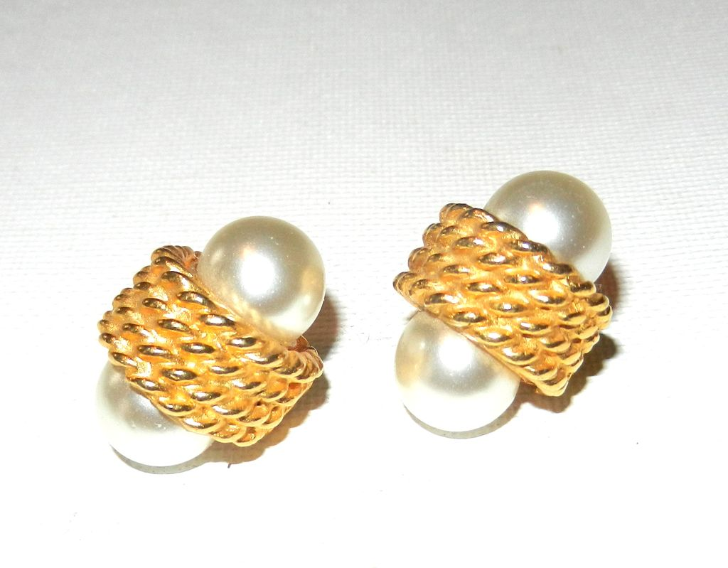 Vintage KJL for Laguna Faux Pearl and Gold Tone Earrings