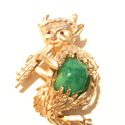 SOLD Vintage Flute Playing Pan Figural Brooch Pin