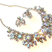 SOLD Stunning 1960�s Blue Aurora Borealis Rhinestone Necklace and Earrings