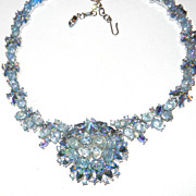 Vintage Trifari Blue Rhinestone Necklace AB Lava Art Glass Necklace