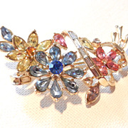 SOLD Vintage Trifari Colorful Rhinestone Flower Brooch