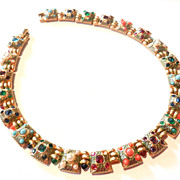 SOLD Vintage Boucher Necklace Multi Colored Beads Collar Necklace