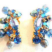 SOLD Vintage Juliana D&E Blue Rhinestone Beads Earrings