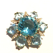 Reja Sterling Blue Silver Brooch Pendant for a Necklace