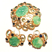 Vintage Castlecliff Faux Jade Brooch Earrings Set