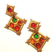 Vintage LaCroix Couture Gripoix Glass Earrings Multi Colored