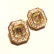 SALE PENDING Vintage Yellow Crystal Rhinestone Dior Earrings