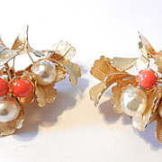 Vintage Castlecliff Faux Turquoise Coral and Baroque Pearl Earrings