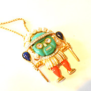 Vintage Kenneth Lane KJL Tribal Figured Pendant Necklace