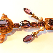 Vintage Leo Glass Amethyst Glass Pin Brooch Purple