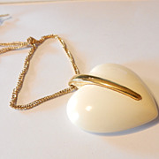 Vintage Trifari Heart Pendant Necklace Retro