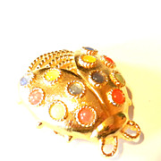 Vintage Trifari Ladybug Multi Colored Pin Brooch