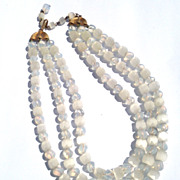 Vintage 3 Strand Art Glass Opaque Trifari Beaded Necklace