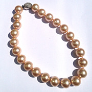 Vintage Ciner Big Single Strand Pearl Chocker with Rhinestone Clasp