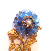 Vintage Miriam Haskell Blue Glass Flower Brooch Pin