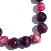 Vintage Miriam Haskell Necklace Purple Pink Art Glass Beads Necklace