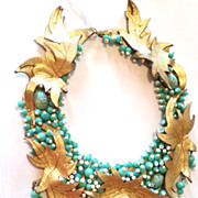 SOLD Vintage Lee Lee Menichetti Couture Runway Beaded Necklace