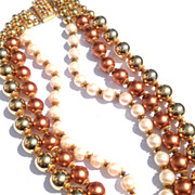 Vintage 1980's Valentino Tri Colored Beads Faux Pearls Gold and Copper