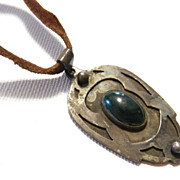 Vintage Arts and Crafts Hand Wrought Pendant Necklace