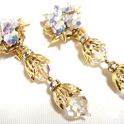 Vintage Lois Ann Chandelier Crystal Drop Earrings