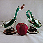 SALE AVeM Murano Sommerso Duck Bird Pair with Labels