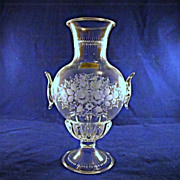Salir Murano Engraved Glass Vase for Buccellati Italy