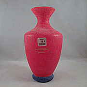 Gambaro and Poggi Murano Red Scavo Vase with Blue Foot