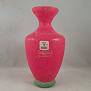 Gambaro and Poggi Murano Red Scavo Vase with Green Foot