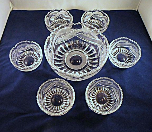 Cut Glass Berry Bowl Set with Mixed Motifs and Thick Crystal Walls