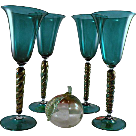Four Seguso Vetri d'Arte Murano Wine Stems in Teal with Gold and Label